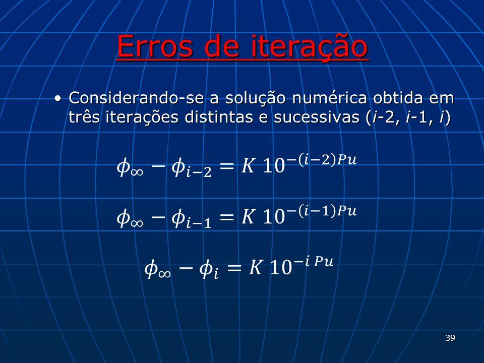Erros de iteração Considerando-se a solução numérica obtida em três iterações distintas e sucessivas (i-2, i-1, i)Considerando-se a solução numérica o