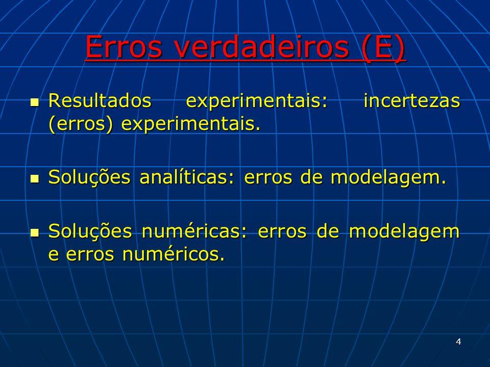 Erros verdadeiros (E) Erro experimental: Diferença entre o valor verdadeiro (R) de uma variável de interesse e seu valor experimental (X).