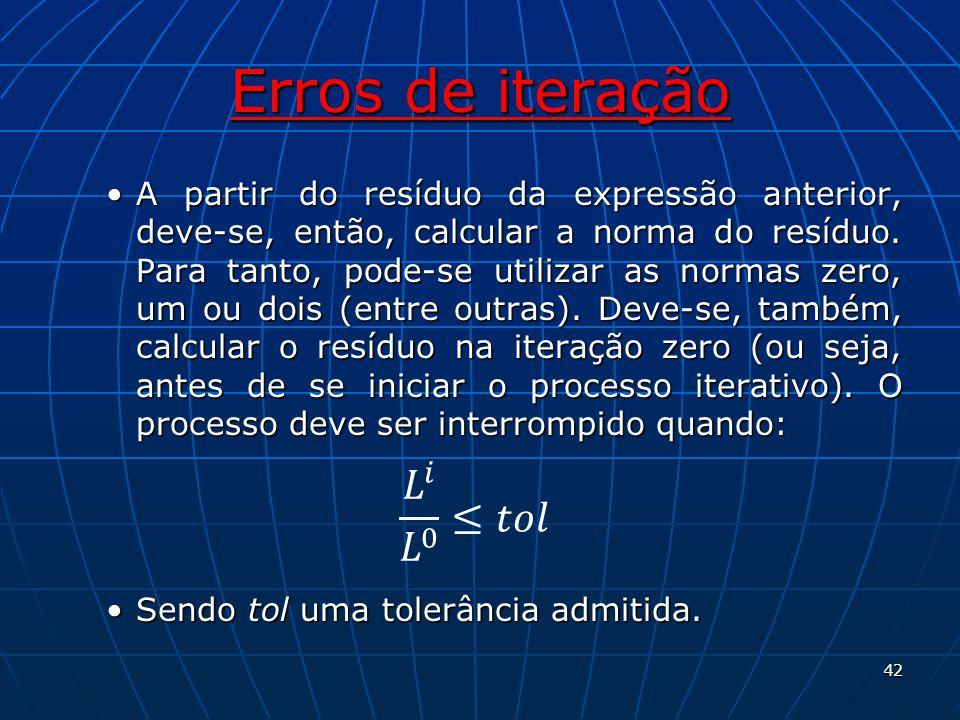 Erros de iteração A partir do resíduo da expressão anterior, deve-se, então, calcular a norma do resíduo. Para tanto, pode-se utilizar as normas zero,