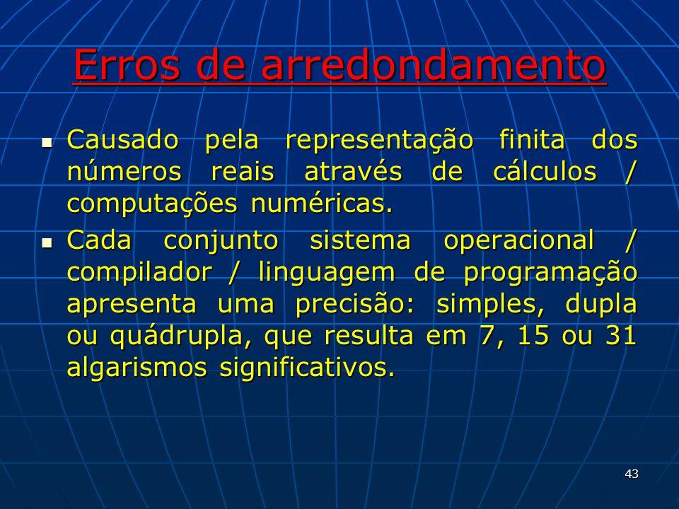Erros de arredondamento Causado pela representação finita dos números reais através de cálculos / computações numéricas. Causado pela representação fi