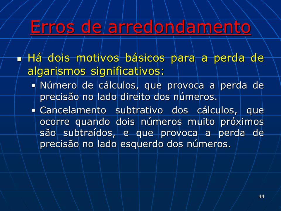 Erros de arredondamento Há dois motivos básicos para a perda de algarismos significativos: Há dois motivos básicos para a perda de algarismos signific