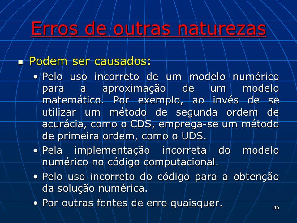 Erros de outras naturezas Podem ser causados: Podem ser causados: Pelo uso incorreto de um modelo numérico para a aproximação de um modelo matemático.