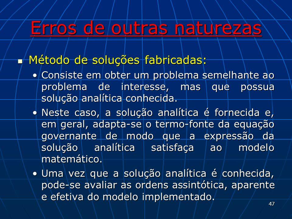 Erros de outras naturezas Método de soluções fabricadas: Método de soluções fabricadas: Consiste em obter um problema semelhante ao problema de intere