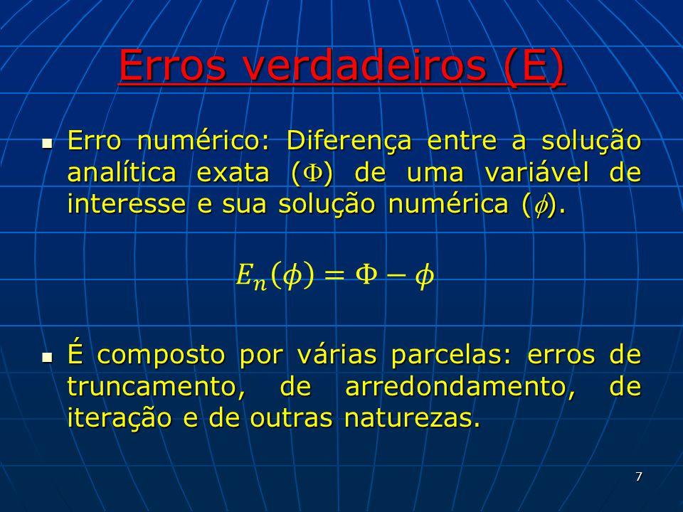Erros verdadeiros (E) Erro numérico: Diferença entre a solução analítica exata () de uma variável de interesse e sua solução numérica (). Erro numéric