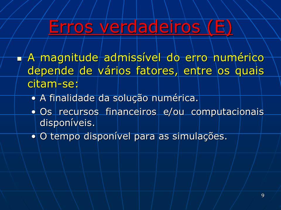 Erros de discretização Estimador de Richardson, baseado na ordem assintótica: Admitindo-se que: Sendo: ø a solução numérica; ø a solução analítica estimada e U(ø) a estimativa do erro numérico em h.