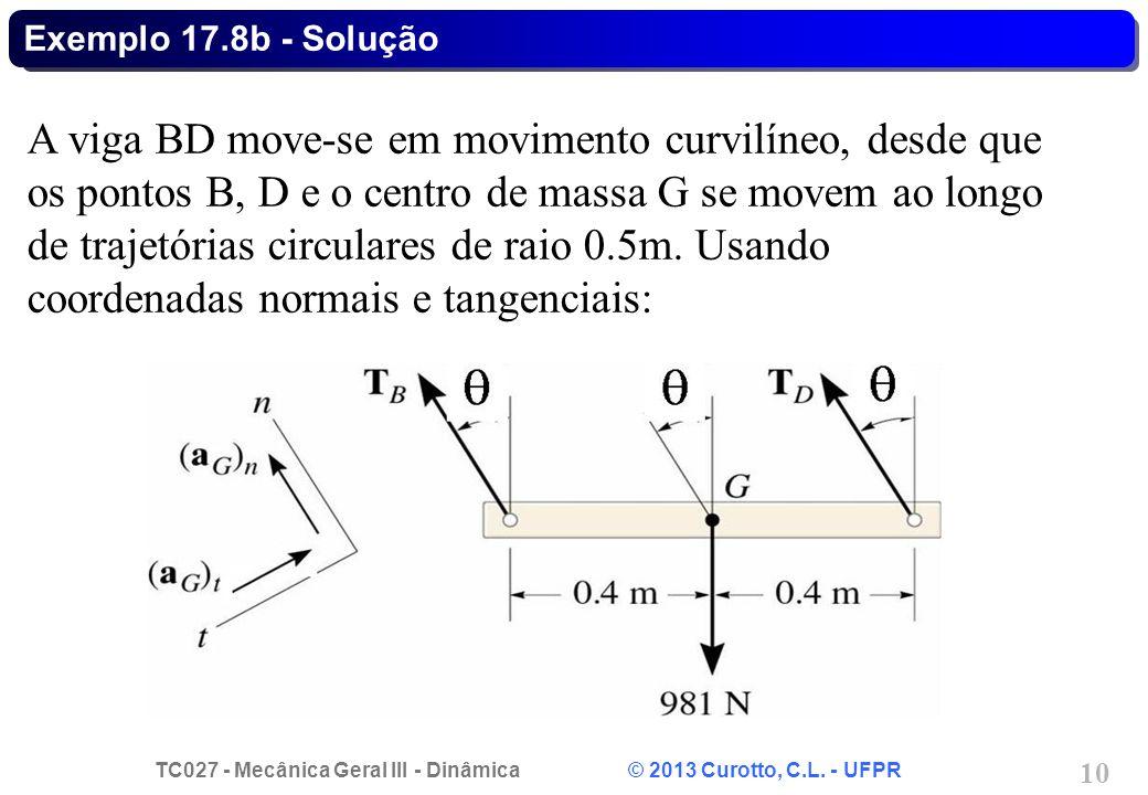 TC027 - Mecânica Geral III - Dinâmica © 2013 Curotto, C.L. - UFPR 10 Exemplo 17.8b - Solução A viga BD move-se em movimento curvilíneo, desde que os p
