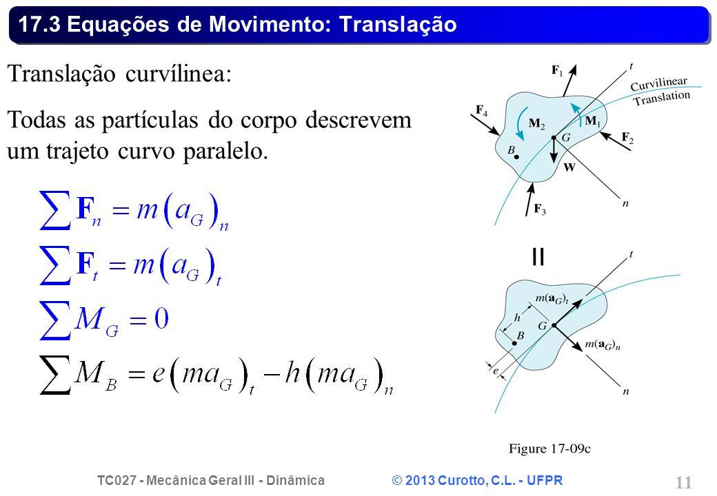 TC027 - Mecânica Geral III - Dinâmica © 2013 Curotto, C.L. - UFPR 11 17.3 Equações de Movimento: Translação Translação curvílinea: Todas as partículas