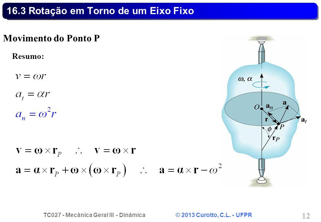 TC027 - Mecânica Geral III - Dinâmica © 2013 Curotto, C.L. - UFPR 12 16.3 Rotação em Torno de um Eixo Fixo Movimento do Ponto P Resumo: