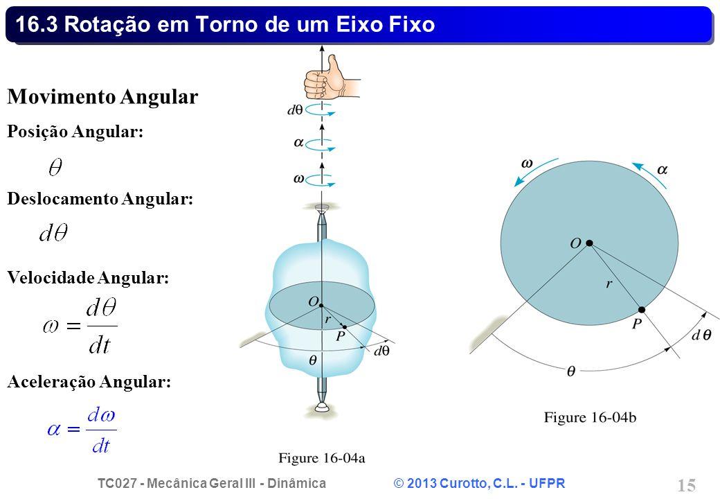 TC027 - Mecânica Geral III - Dinâmica © 2013 Curotto, C.L. - UFPR 15 16.3 Rotação em Torno de um Eixo Fixo Movimento Angular Posição Angular: Deslocam