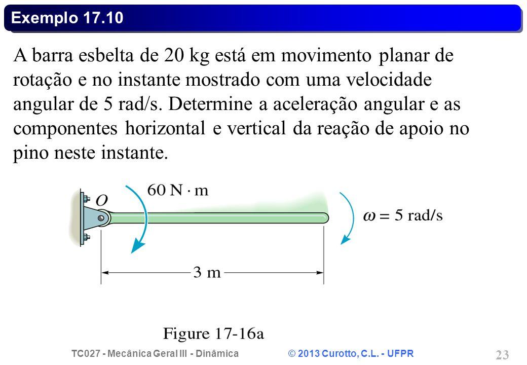 TC027 - Mecânica Geral III - Dinâmica © 2013 Curotto, C.L. - UFPR 23 Exemplo 17.10 A barra esbelta de 20 kg está em movimento planar de rotação e no i