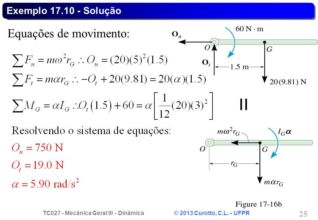 TC027 - Mecânica Geral III - Dinâmica © 2013 Curotto, C.L. - UFPR 25 Exemplo 17.10 - Solução Equações de movimento: