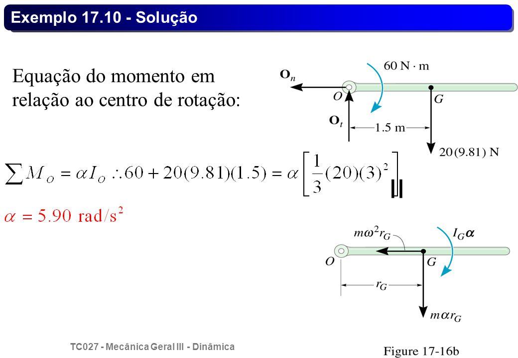 TC027 - Mecânica Geral III - Dinâmica © 2013 Curotto, C.L. - UFPR 26 Exemplo 17.10 - Solução Equação do momento em relação ao centro de rotação: