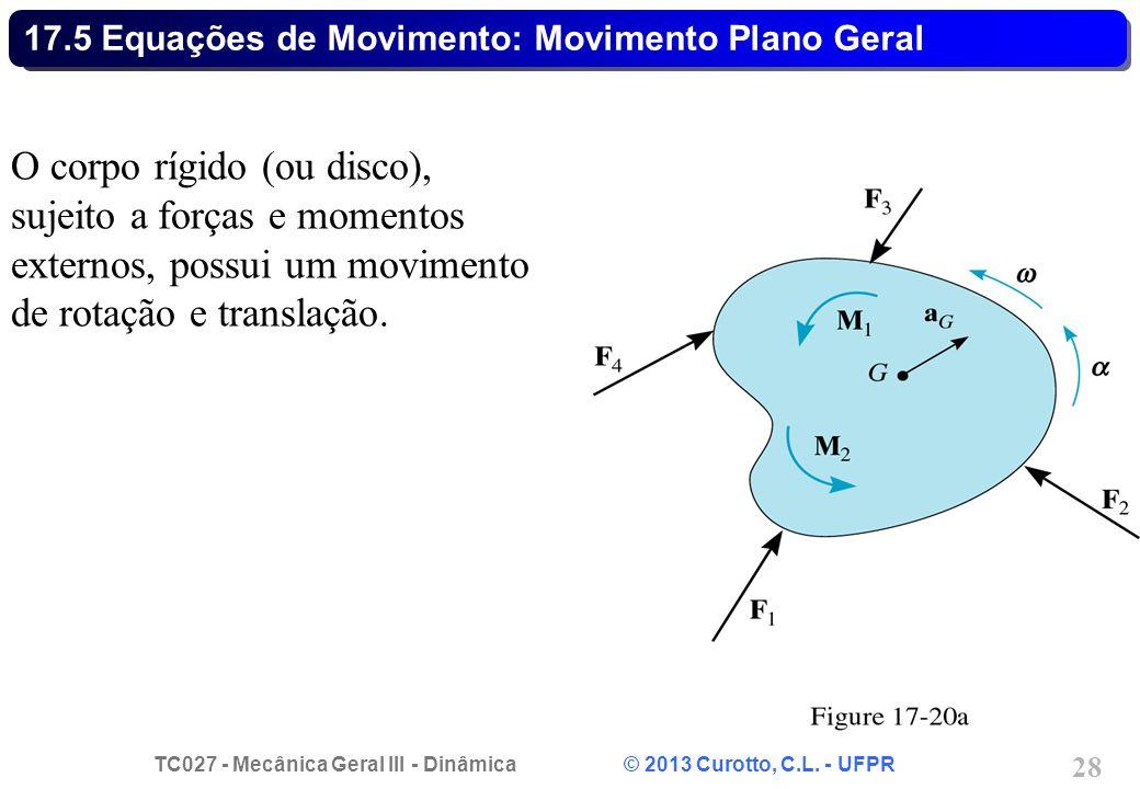 TC027 - Mecânica Geral III - Dinâmica © 2013 Curotto, C.L. - UFPR 28 17.5 Equações de Movimento: Movimento Plano Geral O corpo rígido (ou disco), suje