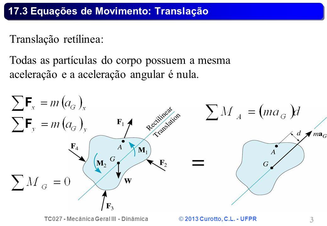 TC027 - Mecânica Geral III - Dinâmica © 2013 Curotto, C.L. - UFPR 3 17.3 Equações de Movimento: Translação Translação retílinea: Todas as partículas d