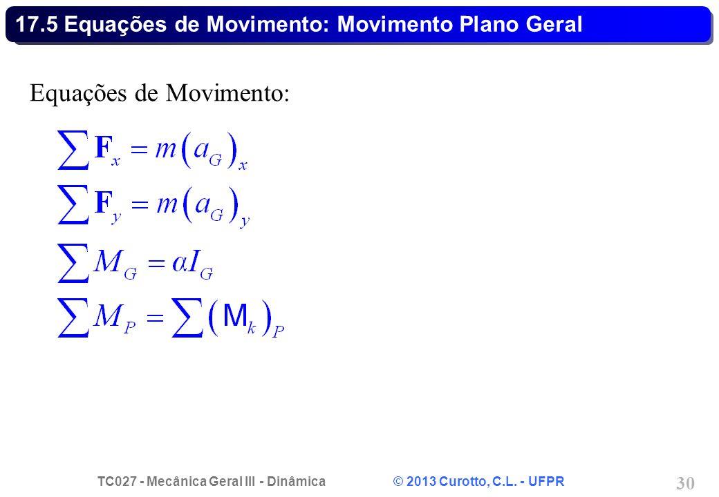 TC027 - Mecânica Geral III - Dinâmica © 2013 Curotto, C.L. - UFPR 30 17.5 Equações de Movimento: Movimento Plano Geral Equações de Movimento: