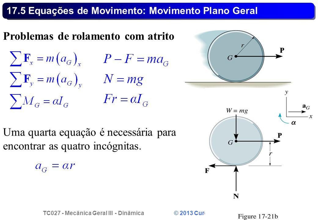 TC027 - Mecânica Geral III - Dinâmica © 2013 Curotto, C.L. - UFPR 31 17.5 Equações de Movimento: Movimento Plano Geral Problemas de rolamento com atri