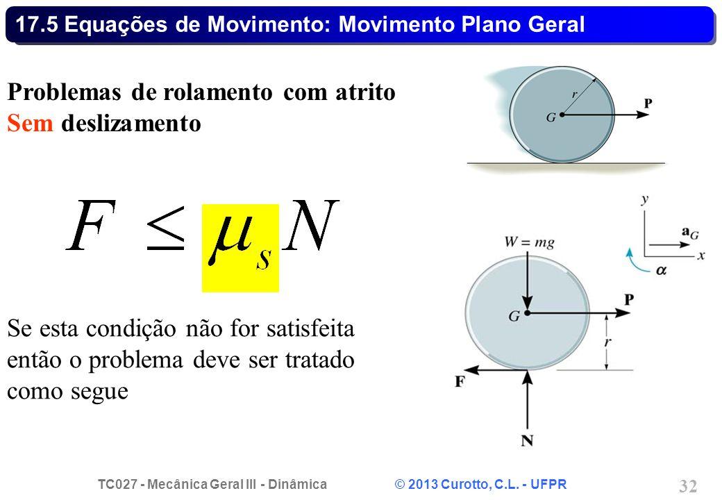 TC027 - Mecânica Geral III - Dinâmica © 2013 Curotto, C.L. - UFPR 32 17.5 Equações de Movimento: Movimento Plano Geral Problemas de rolamento com atri
