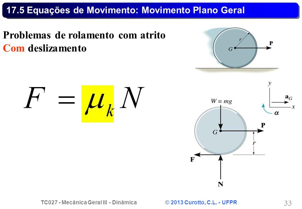 TC027 - Mecânica Geral III - Dinâmica © 2013 Curotto, C.L. - UFPR 33 17.5 Equações de Movimento: Movimento Plano Geral Problemas de rolamento com atri