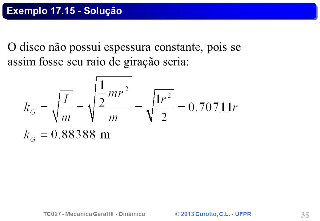 TC027 - Mecânica Geral III - Dinâmica © 2013 Curotto, C.L. - UFPR 35 Exemplo 17.15 - Solução O disco não possui espessura constante, pois se assim fos