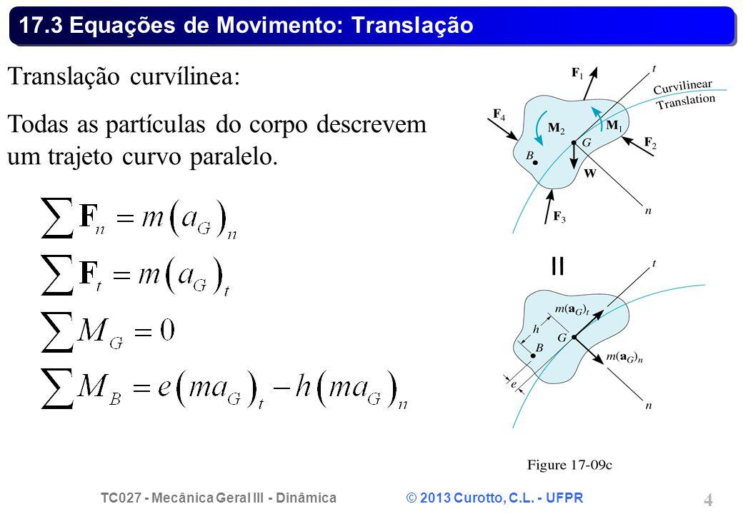TC027 - Mecânica Geral III - Dinâmica © 2013 Curotto, C.L. - UFPR 4 17.3 Equações de Movimento: Translação Translação curvílinea: Todas as partículas