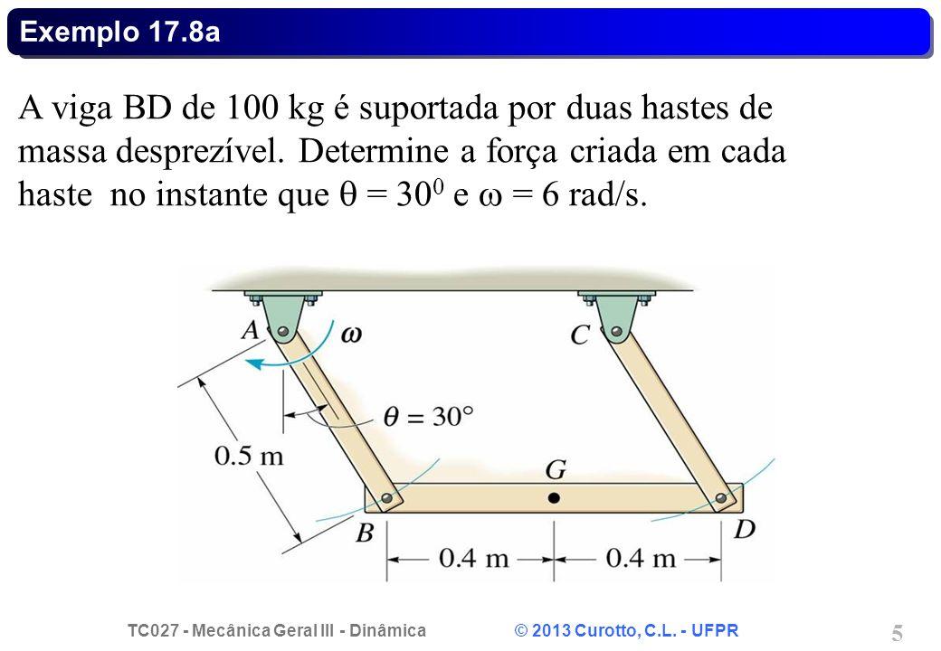 TC027 - Mecânica Geral III - Dinâmica © 2013 Curotto, C.L. - UFPR 5 Exemplo 17.8a A viga BD de 100 kg é suportada por duas hastes de massa desprezível