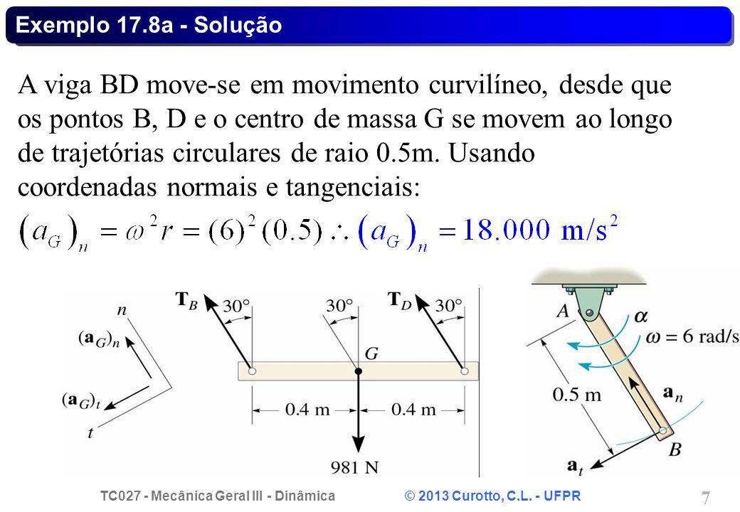 TC027 - Mecânica Geral III - Dinâmica © 2013 Curotto, C.L. - UFPR 7 Exemplo 17.8a - Solução A viga BD move-se em movimento curvilíneo, desde que os po
