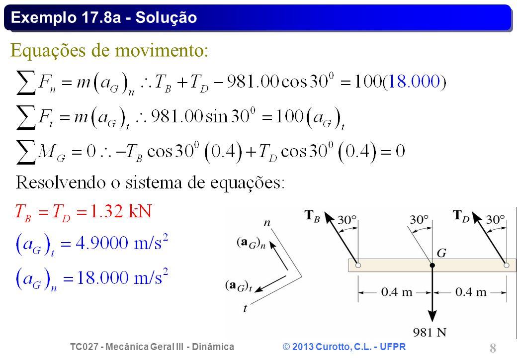 TC027 - Mecânica Geral III - Dinâmica © 2013 Curotto, C.L. - UFPR 8 Exemplo 17.8a - Solução Equações de movimento: