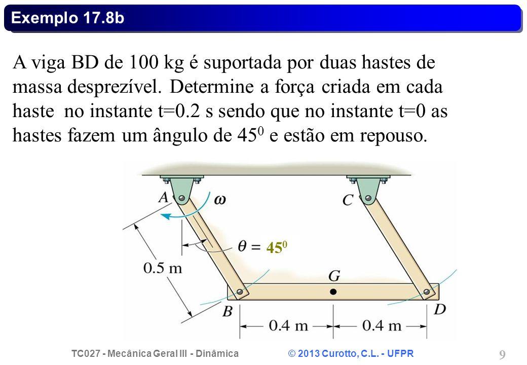 TC027 - Mecânica Geral III - Dinâmica © 2013 Curotto, C.L. - UFPR 9 Exemplo 17.8b A viga BD de 100 kg é suportada por duas hastes de massa desprezível