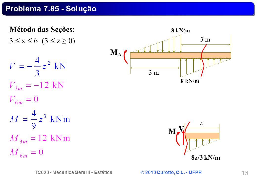 TC023 - Mecânica Geral II - Estática © 2013 Curotto, C.L. - UFPR 18 Problema 7.85 - Solução Método das Seções: 3 x 6 (3 z 0) z V M 8z/3 kN/m 3 m 8 kN/