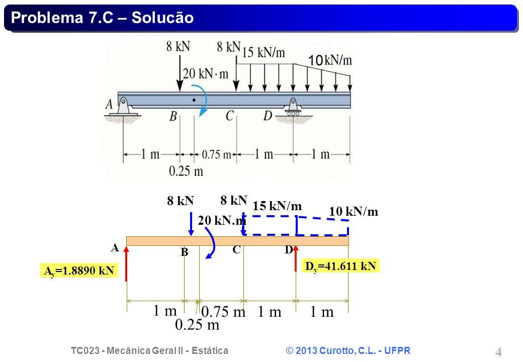 TC023 - Mecânica Geral II - Estática © 2013 Curotto, C.L. - UFPR 4 1 m 0.75 m1 m 0.25 m A y =1.8890 kN D y =41.611 kN 8 kN 15 kN/m 20 kN.m A B CD Prob