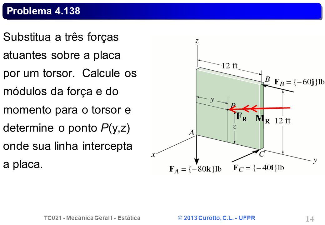 TC021 - Mecânica Geral I - Estática © 2013 Curotto, C.L. - UFPR 15 Problema 4.138 FRFR MRMR