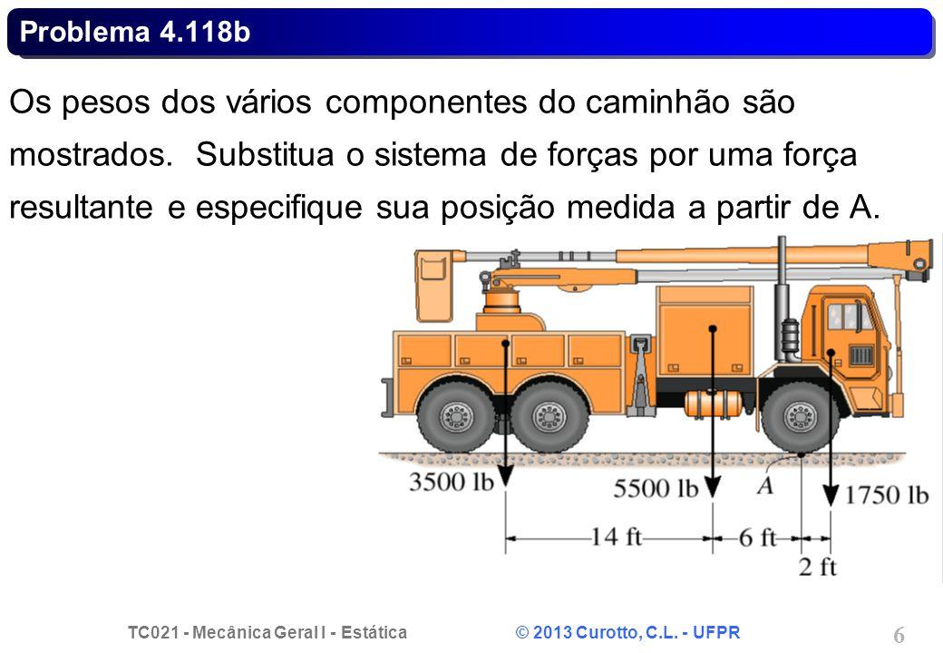 TC021 - Mecânica Geral I - Estática © 2013 Curotto, C.L. - UFPR 7 Problema 4.118b A FRFR d
