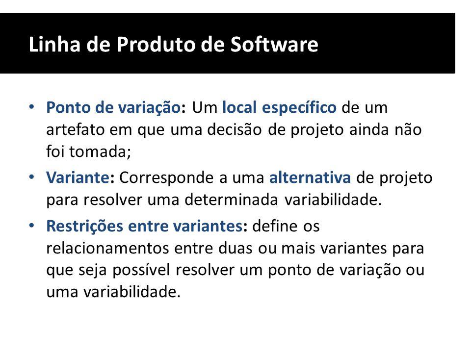 Linha de Produto de Software Ponto de variação: Um local específico de um artefato em que uma decisão de projeto ainda não foi tomada; Variante: Corre