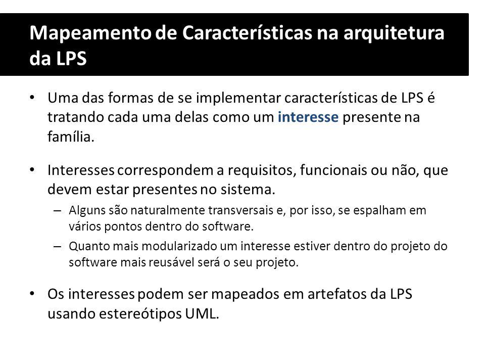 Mapeamento de Características na arquitetura da LPS Uma das formas de se implementar características de LPS é tratando cada uma delas como um interess