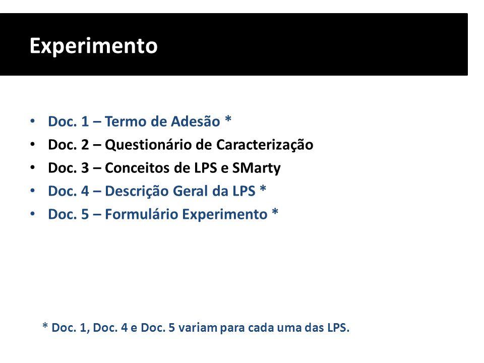 Experimento Doc. 1 – Termo de Adesão * Doc. 2 – Questionário de Caracterização Doc. 3 – Conceitos de LPS e SMarty Doc. 4 – Descrição Geral da LPS * Do