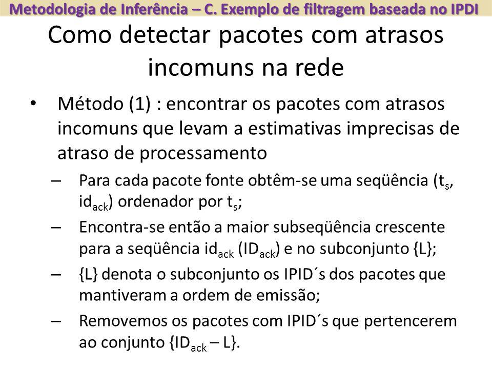Como detectar pacotes com atrasos incomuns na rede Metodologia de Inferência – C. Exemplo de filtragem baseada no IPDI Método (1) : encontrar os pacot