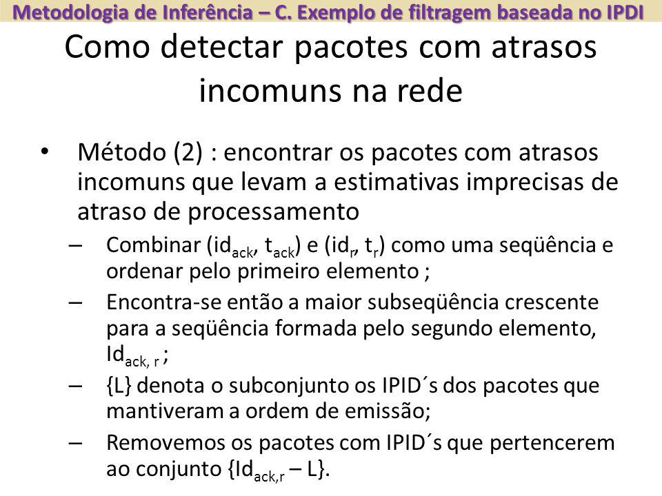 Como detectar pacotes com atrasos incomuns na rede Metodologia de Inferência – C. Exemplo de filtragem baseada no IPDI Método (2) : encontrar os pacot