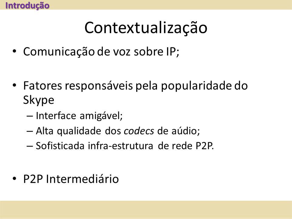 Contextualização Comunicação de voz sobre IP; Fatores responsáveis pela popularidade do Skype – Interface amigável; – Alta qualidade dos codecs de aúdio; – Sofisticada infra-estrutura de rede P2P.