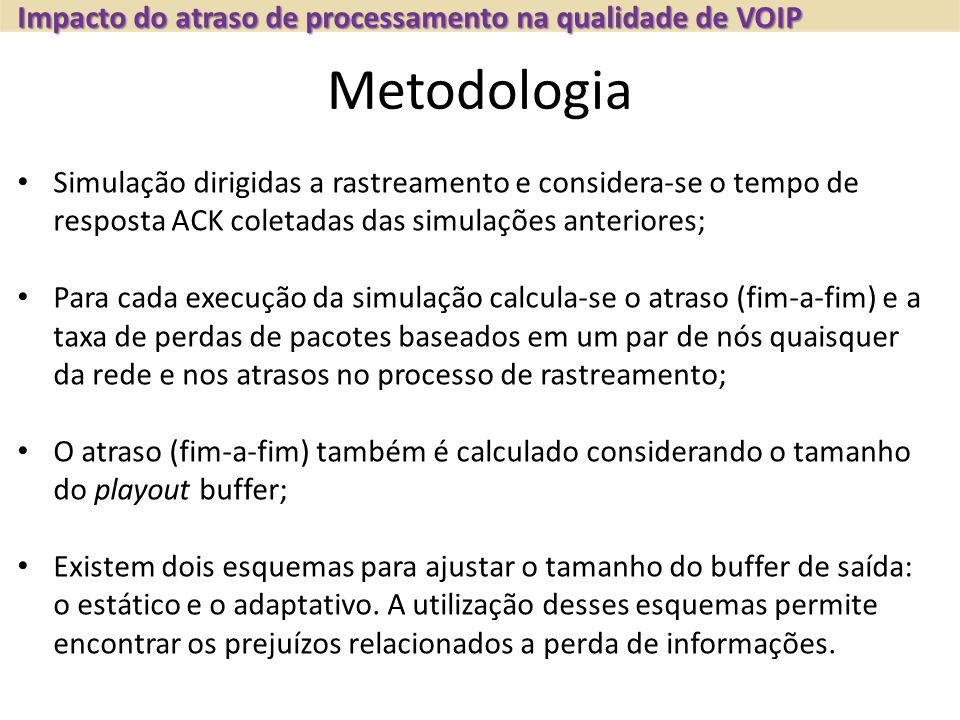 Metodologia Simulação dirigidas a rastreamento e considera-se o tempo de resposta ACK coletadas das simulações anteriores; Para cada execução da simulação calcula-se o atraso (fim-a-fim) e a taxa de perdas de pacotes baseados em um par de nós quaisquer da rede e nos atrasos no processo de rastreamento; O atraso (fim-a-fim) também é calculado considerando o tamanho do playout buffer; Existem dois esquemas para ajustar o tamanho do buffer de saída: o estático e o adaptativo.