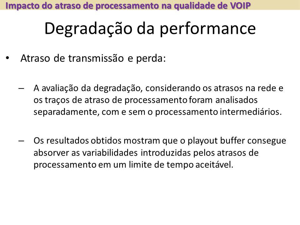 Degradação da performance Atraso de transmissão e perda: – A avaliação da degradação, considerando os atrasos na rede e os traços de atraso de process