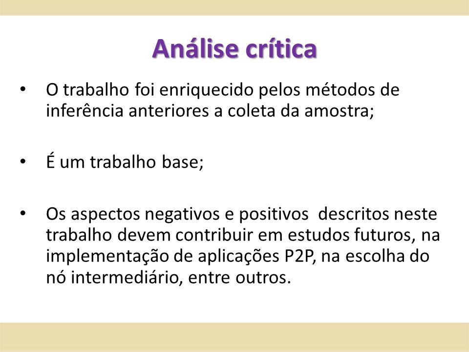 Análise crítica O trabalho foi enriquecido pelos métodos de inferência anteriores a coleta da amostra; É um trabalho base; Os aspectos negativos e pos