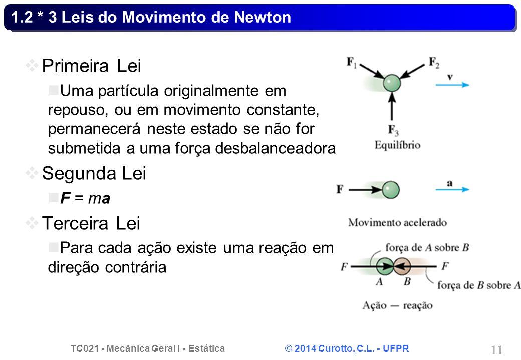 TC021 - Mecânica Geral I - Estática © 2014 Curotto, C.L. - UFPR 11 1.2 * 3 Leis do Movimento de Newton Primeira Lei Uma partícula originalmente em rep