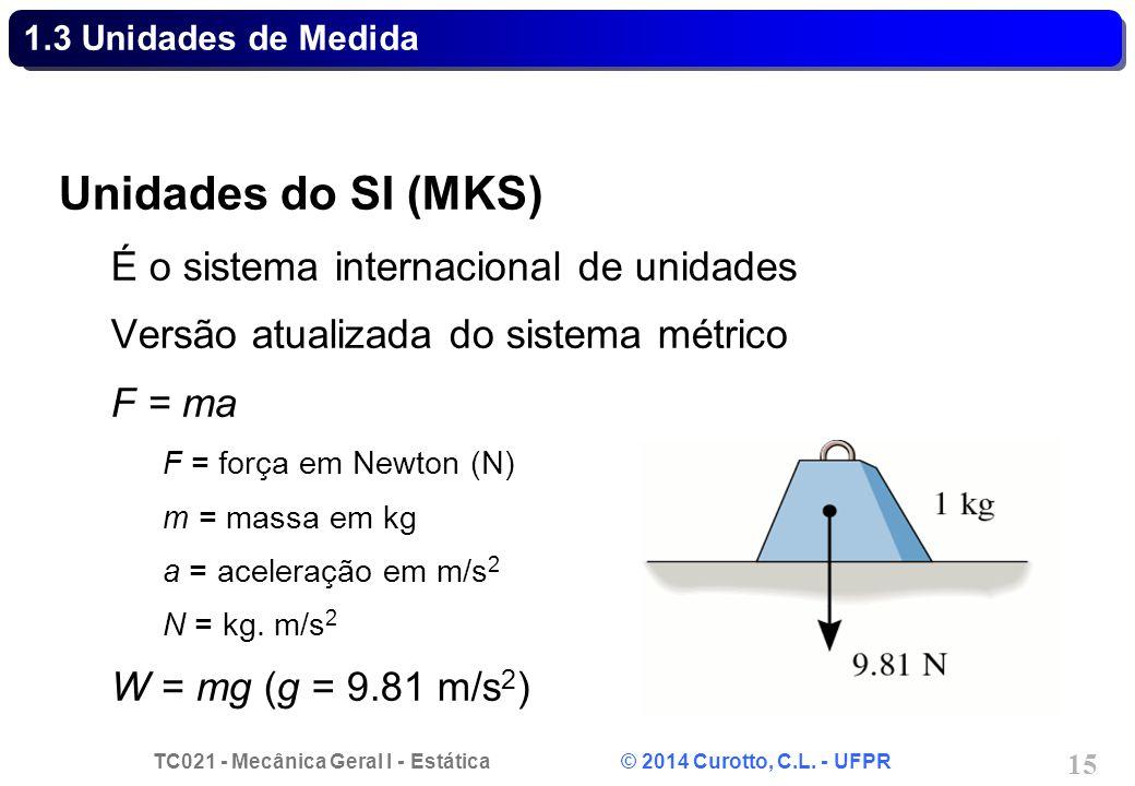 TC021 - Mecânica Geral I - Estática © 2014 Curotto, C.L. - UFPR 15 1.3 Unidades de Medida Unidades do SI (MKS) É o sistema internacional de unidades V
