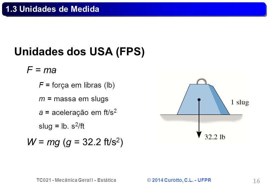 TC021 - Mecânica Geral I - Estática © 2014 Curotto, C.L. - UFPR 16 1.3 Unidades de Medida Unidades dos USA (FPS) F = ma F = força em libras (lb) m = m