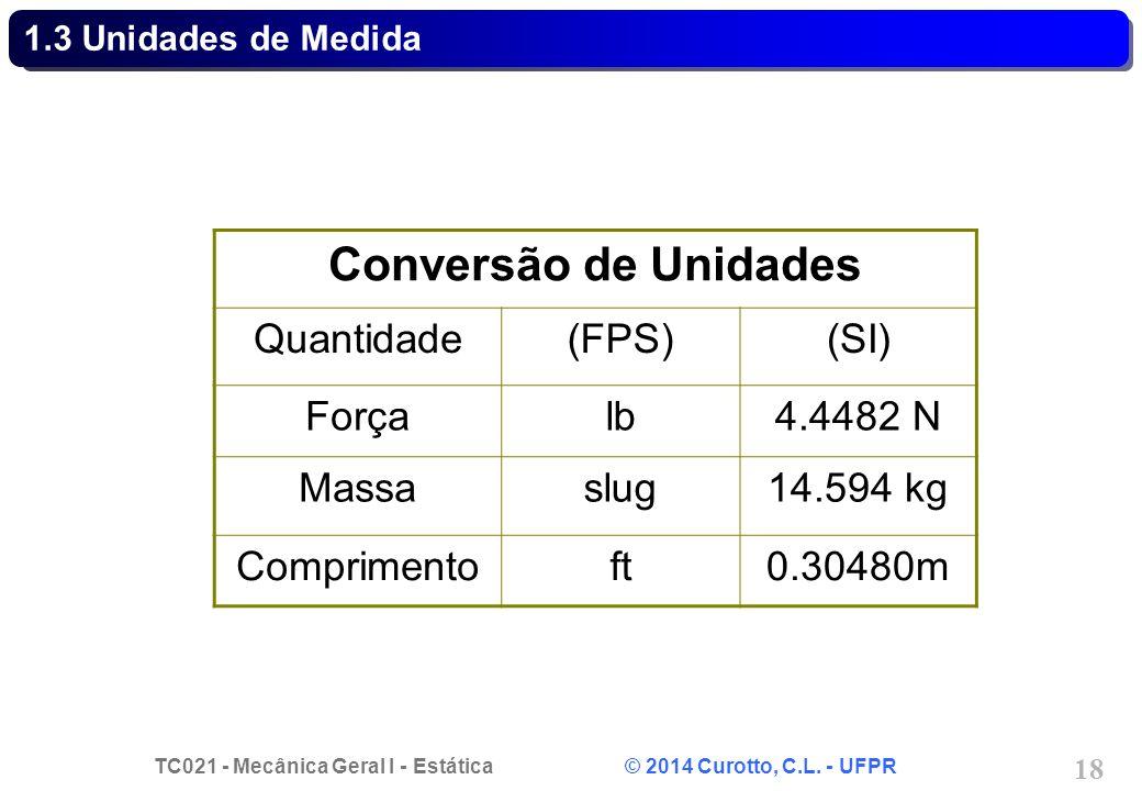 TC021 - Mecânica Geral I - Estática © 2014 Curotto, C.L. - UFPR 18 1.3 Unidades de Medida Conversão de Unidades Quantidade(FPS)(SI) Forçalb4.4482 N Ma
