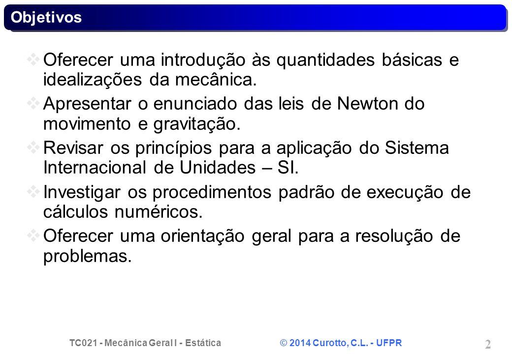 TC021 - Mecânica Geral I - Estática © 2014 Curotto, C.L. - UFPR 13 1.2 * Peso