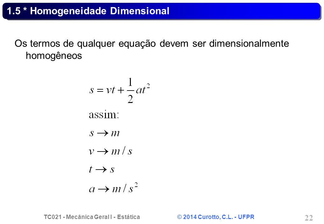 TC021 - Mecânica Geral I - Estática © 2014 Curotto, C.L. - UFPR 22 1.5 * Homogeneidade Dimensional Os termos de qualquer equação devem ser dimensional