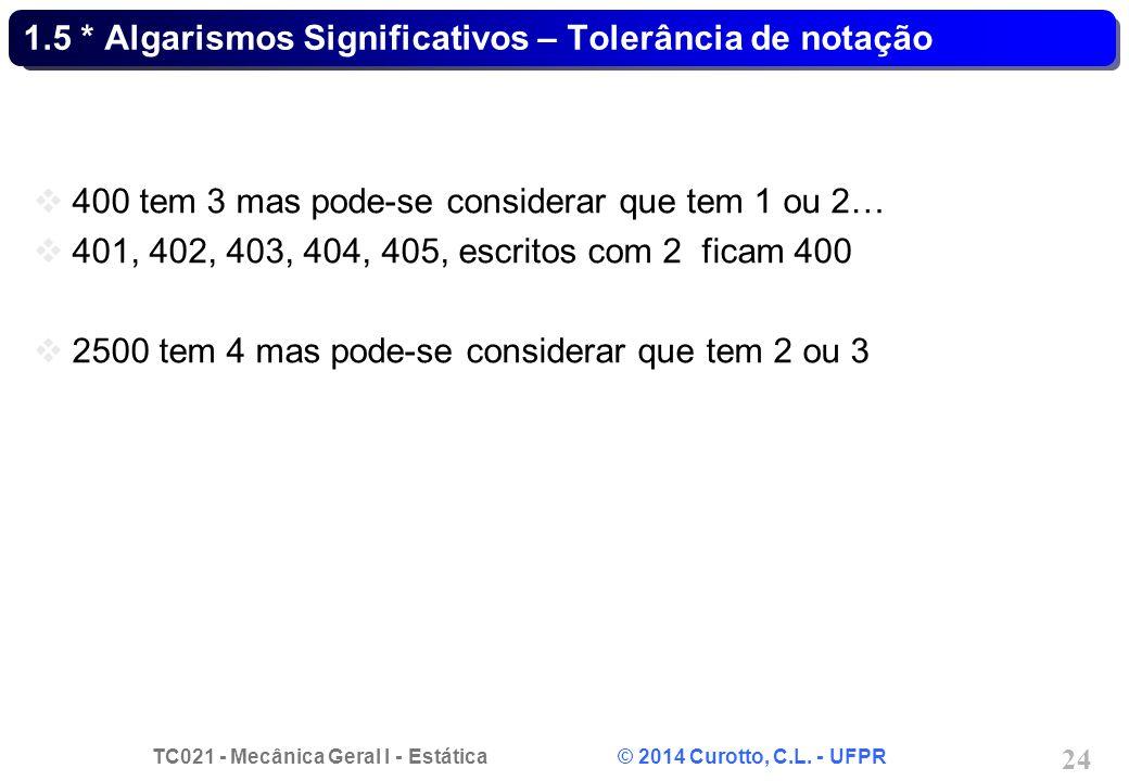 TC021 - Mecânica Geral I - Estática © 2014 Curotto, C.L. - UFPR 24 1.5 * Algarismos Significativos – Tolerância de notação 400 tem 3 mas pode-se consi