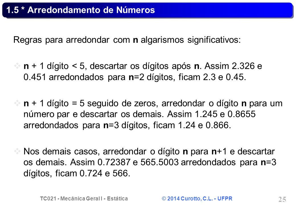 TC021 - Mecânica Geral I - Estática © 2014 Curotto, C.L. - UFPR 25 1.5 * Arredondamento de Números Regras para arredondar com n algarismos significati