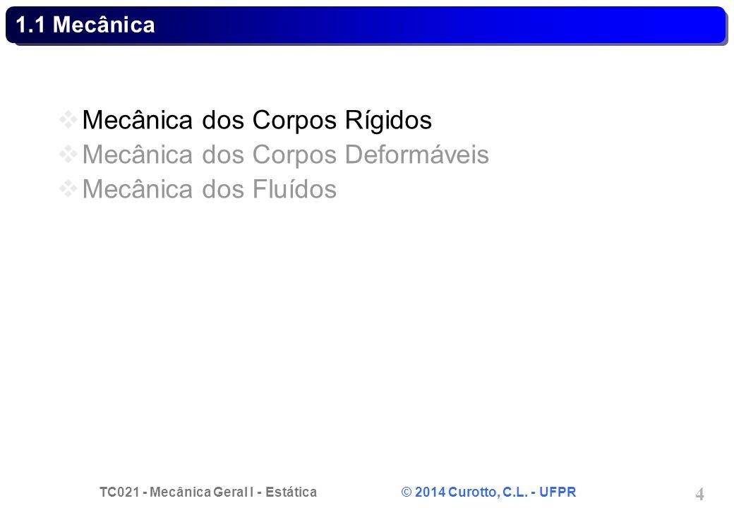 TC021 - Mecânica Geral I - Estática © 2014 Curotto, C.L. - UFPR 4 1.1 Mecânica Mecânica dos Corpos Rígidos Mecânica dos Corpos Deformáveis Mecânica do